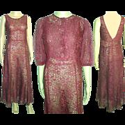Vintage 1930s Dress . 30s Dress . Old Hollywood . Matching Bolero