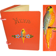 Rare 1928 Memo Book . Unused . 1928 Calendar . Art Deco . Celluloid Parrot . Miniature Noteboo
