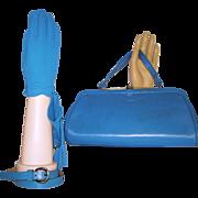 Vintage 1950s Purse ~ Matching Gloves NOS ~ Matching Belt - Rockabilly Mad Man Garden Party.