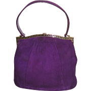Vintage 1950s Purse Purple Handbag mad men rockabilly swing bombshell pinup garden party dress