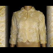 Vintage 1950s Sweater . Regalia . Sequins . Seed Beads New Look Rockabilly Mad Men Garden Part