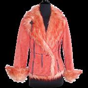 Vintage Suede Leather Jacket  .  Orange Light Peach Mod Faux Fur Retro Designer Couture Femme
