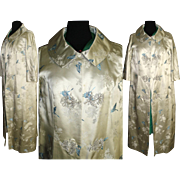 Vintage 1950s Coat . Designer M. K. Loo . Satin . Embroidered Butterflies . Brocade . Cocktail
