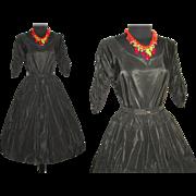 Vintage 1950s Dress . Couture . Full Circle Skirt . Black . Femme Fatale Garden Party Mad Men