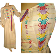 Vintage 1960s Dress . Maxi Dress . Bohemian . NOS .   Embroidered .  Bohemian . 60s . Wedding