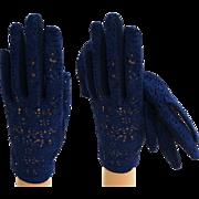 1950s Gloves . Blue . Corde Lace . Rockabilly . Mod . Gown Wedding Garden Party Mad Men ...