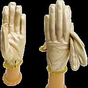 1950s Gloves . Gold Metallic . Decorated Cuff . Rockabilly . Mod Gown Wedding Garden Party Mad