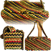 Vintage 1950s Purse//50s//Beaded//Wooden Beads//Multi Colored//Made in Occupied Japan