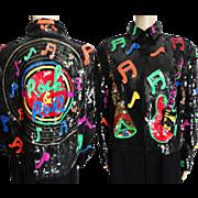 Sequin Jacket //Vintage//Rock & Roll//1980s//Gorgeous//Sequin Guitar//Great Sequin Graphics/ .