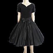 Vintage 1950s Dress//50s Black Dress//Rockabilly//Party Dress//Mad Man//Wedding//New Look//Mod