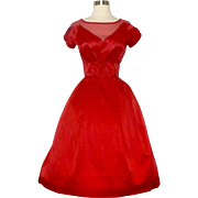 Vintage 1950s Dress//50s Party Dress//Red//Cocktail Dress//Mod//New Look//Rockabilly