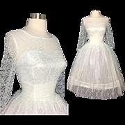 Vintage 1950s Dress //White Lace// 50s Dress //New Look //Femme Fatale//Rockabilly//Mod/ ...