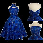Vintage 1950s Dress//50s Hawaiian Dress// Royal Blue & Metallic Gold//Multi-Way Straps//New ..
