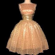 Vintage 1950s Dress//50s Party Dress//Gold Lace//Cocktail Dress//Mod//New Look//Rockabilly/ ..