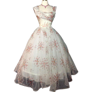 Vintage 1950s Dress//50 Dress//New Look//Rockabilly//Femme Fatale//Wedding Dress//Floral//Rose