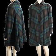 Vintage 1970s Coat//Valentino//Plaid// 70s Coat//Designer//Fall Coat//Couture//
