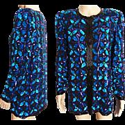Vintage Sequin Jacket //Seed Beads//1980s//Gorgeous//1980s Sequin Jacket////Laurence Kazar