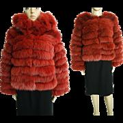 Vintage Fox Fur Coat//Terracotta Detachable collar//Vintage fur Coat//Stole// Shawl//Shrug/ ..