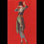 1 of 2 original Art Deco  fashion chromolithgraph 1921 post cards