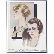 RARE! Vintage Art Deco Hair Fashion Design