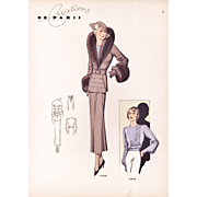 SOLD Original Art Deco Fashion Illustration Print