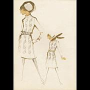 Original Balmain fashion illustration