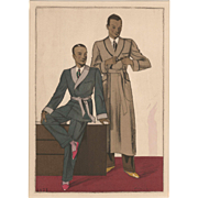 RARE Men's Art Deco fashion print