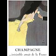 Original French Vintage Champagne Print by Rene Gruau