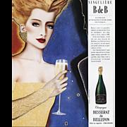 Original Vintage French Champagne Advertisement Print by RAZZIA