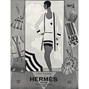 SOLD Original French Art Deco vintage print for Hermes Beach Wear fashion
