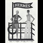 SOLD RARE! Original Vintage Art Deco Hermes Beach Fashion Print