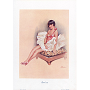 SOLD Original French Art Deco lithograph of  pin-up style semi-nude dancer by S Meunier