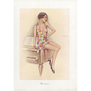 SOLD Original French Art Deco  pin-up style semi-nude lithograph posed on a piano by S Meunier