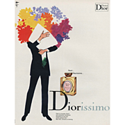 SALE Original Vintage French Christian Dior perfume print by Rene Gruau
