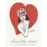 SALE Original Vintage French Print for your Valentine