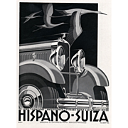 SOLD Original French Art Deco vintage car print for Hispano-Suiza Automobile by Kow