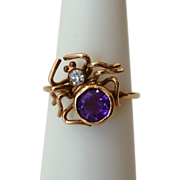 9ct Gold Spider Ring w/ Amethyst and Diamond, 14k Gold Band