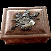 SOLD Velvet box with family crest, shield engraved Lolo Kohn