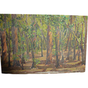Vintage 1920's Mexican Painting Oil on Board Chapultepec Park Signed
