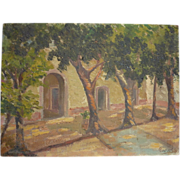 Vintage 1920's Mexican Painting Oil on Board House in Tlalpam Signed