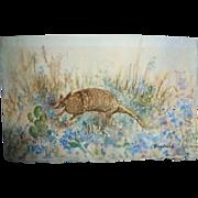 Vintage Texana 2 Watercolors Armadillo & Bluebonnets by Creekbed
