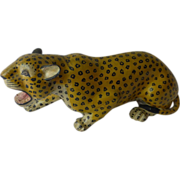 19th Century Indian Polychrome Lacquered Papier Mache Leopard
