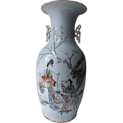 Antique Qianjiang Chinese Porcelain Vase Ma Gu Riding Deer With Peach & Crane & ...