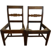 Pair Antique American Slat Back Chairs Oak 18th/19th Century