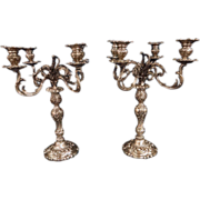 SALE Pair of monumental dominick & haff sterling candleabra