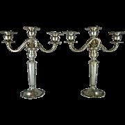 SALE Pair of Mueck Carey New York sterling silver three light candelabra