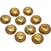 SALE Ten Gilt Silver Apple  Form Gem Set Salt & Pepper Shakers / Place Card Holders