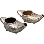 SALE Pair of Dominick & Haff Aesthetic movement sterling silver vessels Circa 1891