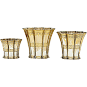 SALE Group-of-Three-Danish-Art-Deco-sterling-silver-Margrethe-fluted-cups-graduated