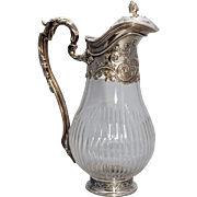 SALE French Silver & Glass Claret Jug